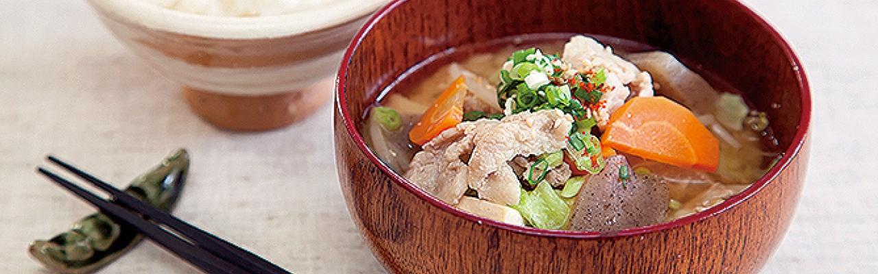 Tonjiru - Canh Miso thịt heo và rau củ