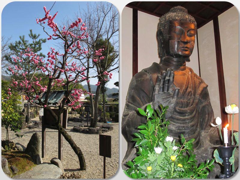 khuôn viên và tượng Phật trong chùa