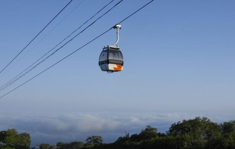 朝里岳の山頂へのゴンドラ