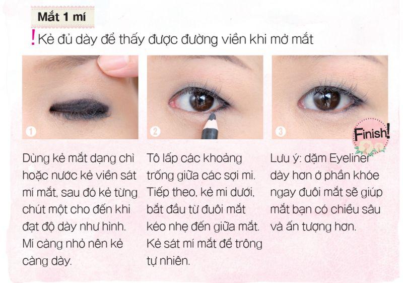kẻ eyeliner mắt một mí