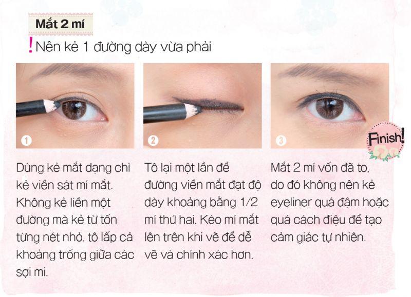 kẻ eyeliner mắt 2 mắt