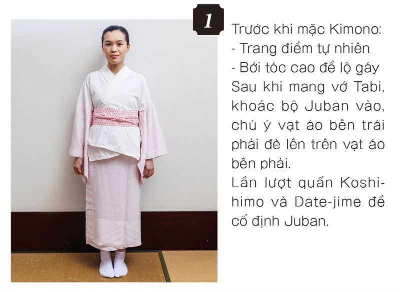 mặc Kimono bước 1