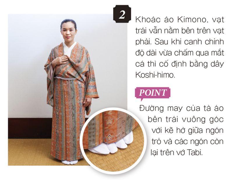 mặc Kimono bước 2