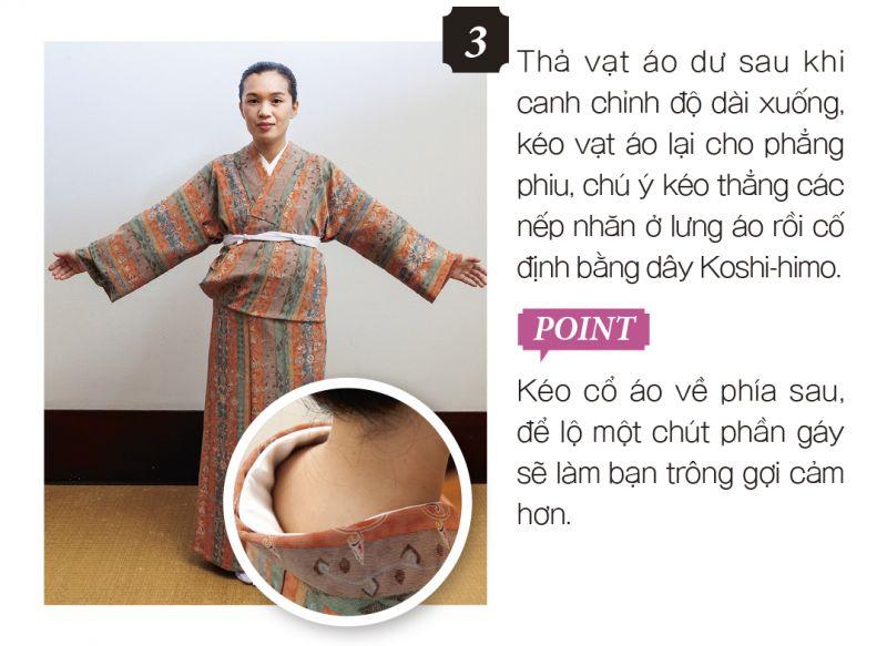 mặc Kimono bước 3