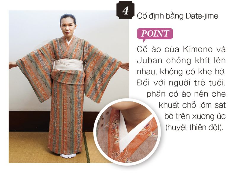 mặc Kimono bước 4