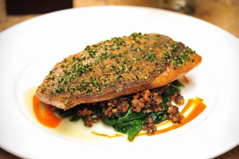 Roasted sea bass Gremolata