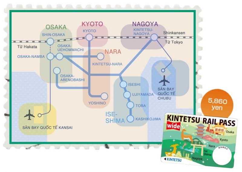 du lịch tiết kiệm với Kintetsu Rail Pass Wide