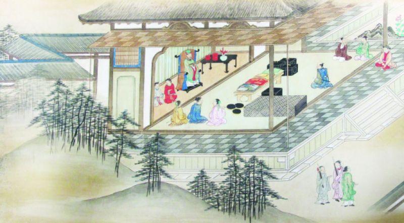 日本の商人が阮王の王子に謁見して贈り物を献上した光景