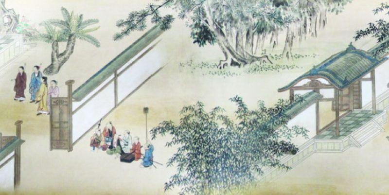 Đoàn tùy tùng của thương nhân Nhật Bản đứng chờ bên ngoài dinh trấn Thanh Chiêm