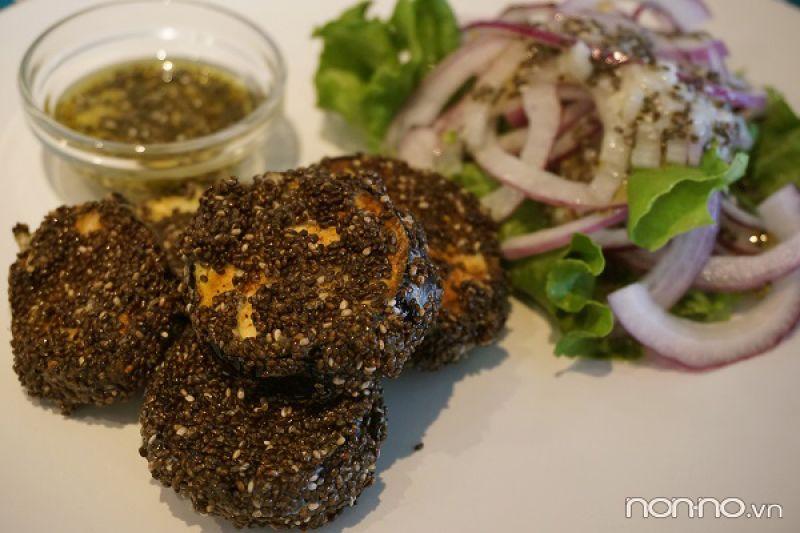 tempura cà tím hạt chia