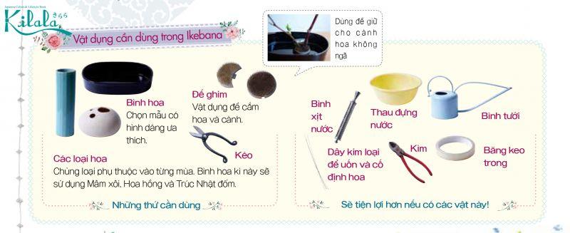Vật dụng cần dùng trong Ikebana