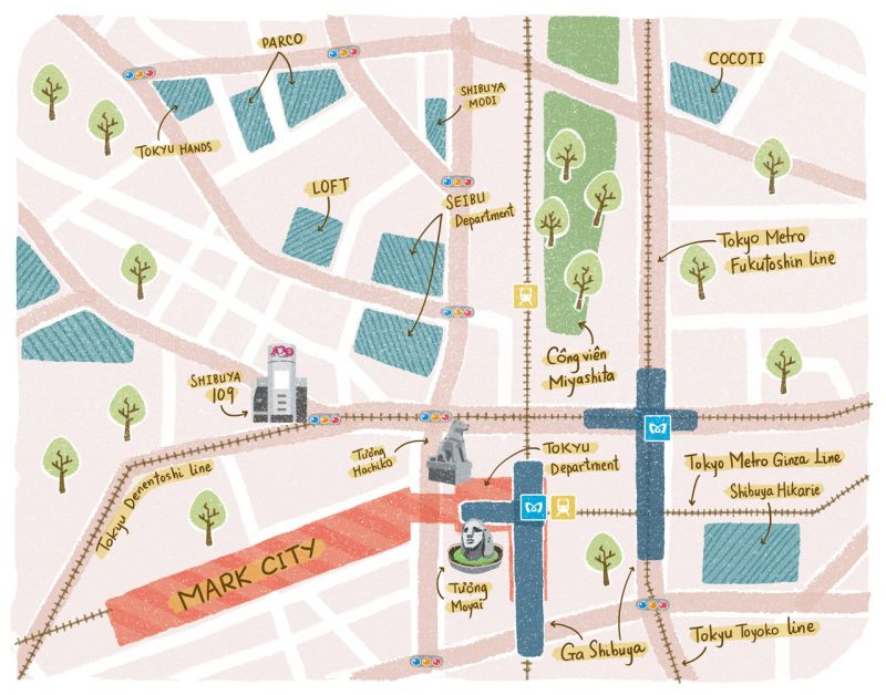 bản đồ tham quan và mua sắm ở Shibuya