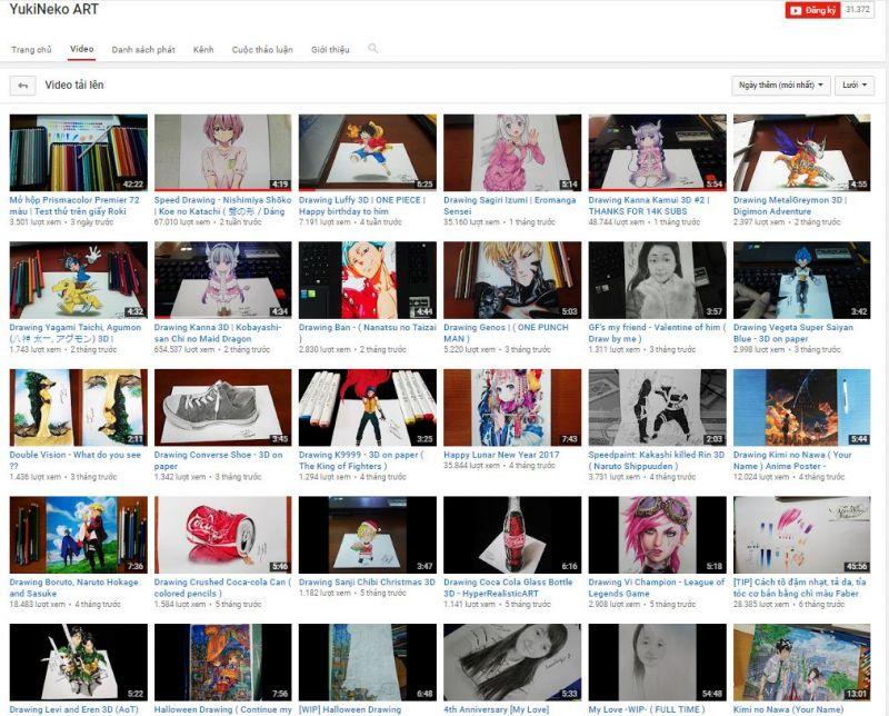 kênh Youtube YukiNeko ART của Quân