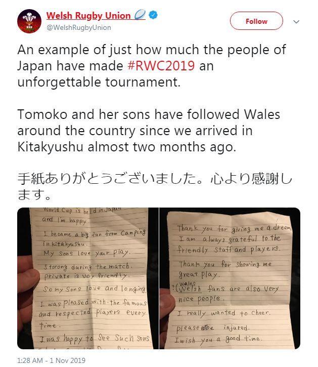 bức thư được chụp lại và chia sẻ lên twitter
