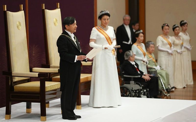 Thiên hoàng Naruhito và Hoàng hậu Masako trong buổi lễ nhậm chức