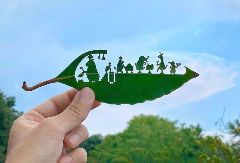 những tác phẩm nghệ thuật từ lá cây
