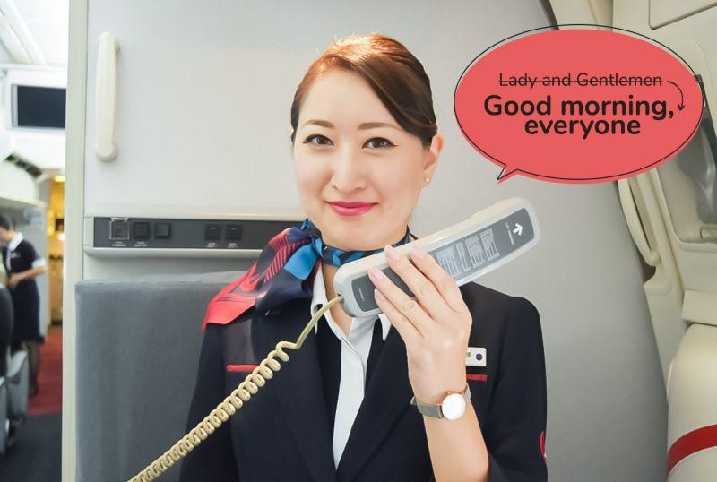 JAL thay đổi lời chào đón hành khách để tránh sự phân biệt giới tính