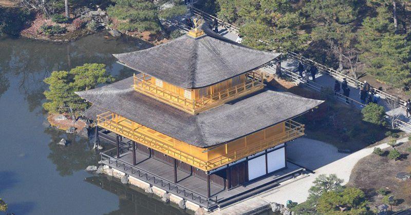 chùa Kinkakuji hóa vàng rực sau trùng tu