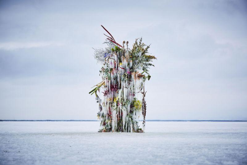 tác phẩm sắp đặt hoa trong băng của người Nhật
