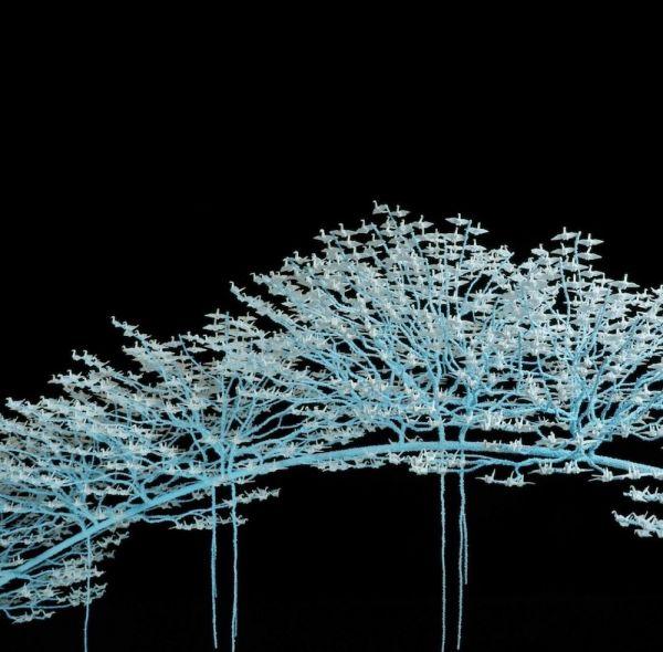 tác phẩm bonsai được ghép từ hạc giấy của nghệ sĩ Nhật Bản